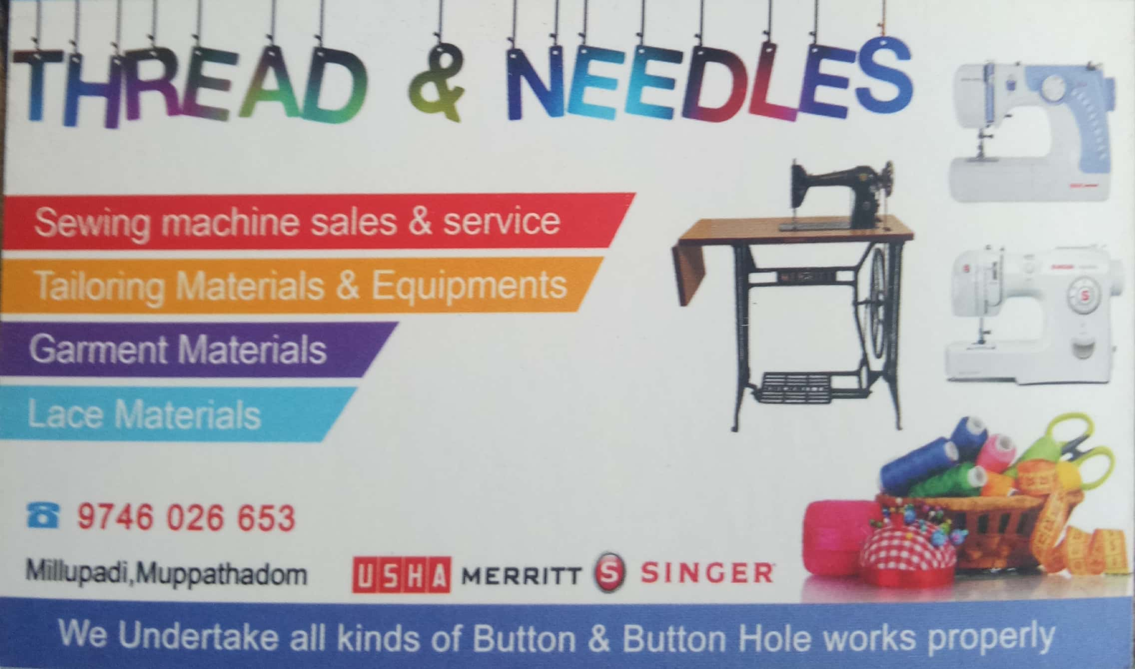THREAD & NEEDLES, SEWING MACHINE & TAILORING MATERIALS,  service in Aluva, Ernakulam