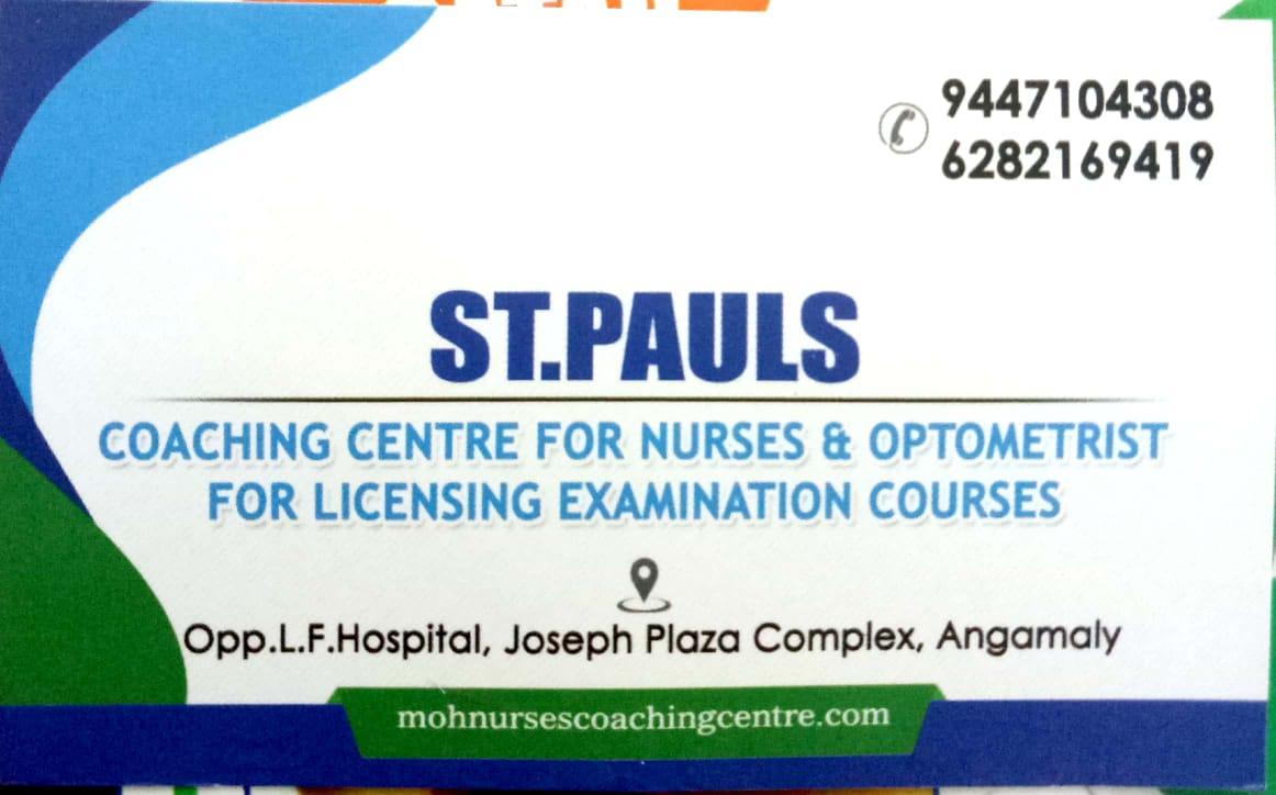 ST. PAULS coaching centre for nurses & optometrist, ENTRANCE COACHING CENTRE,  service in Angamali, Ernakulam