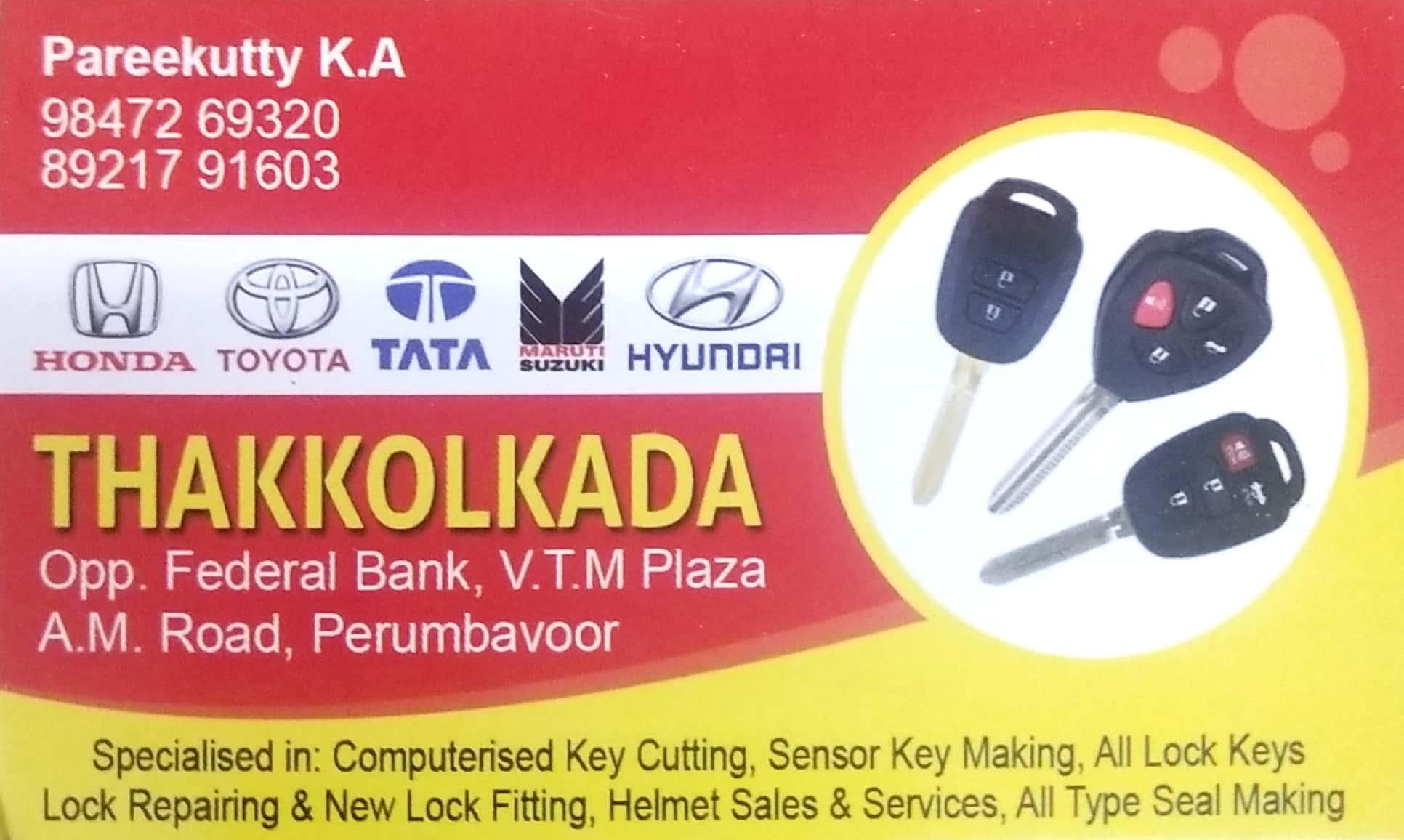 THAKKOLKADA, KEY DUPLICATING AND NUMBER PLATE,  service in Perumbavoor, Ernakulam