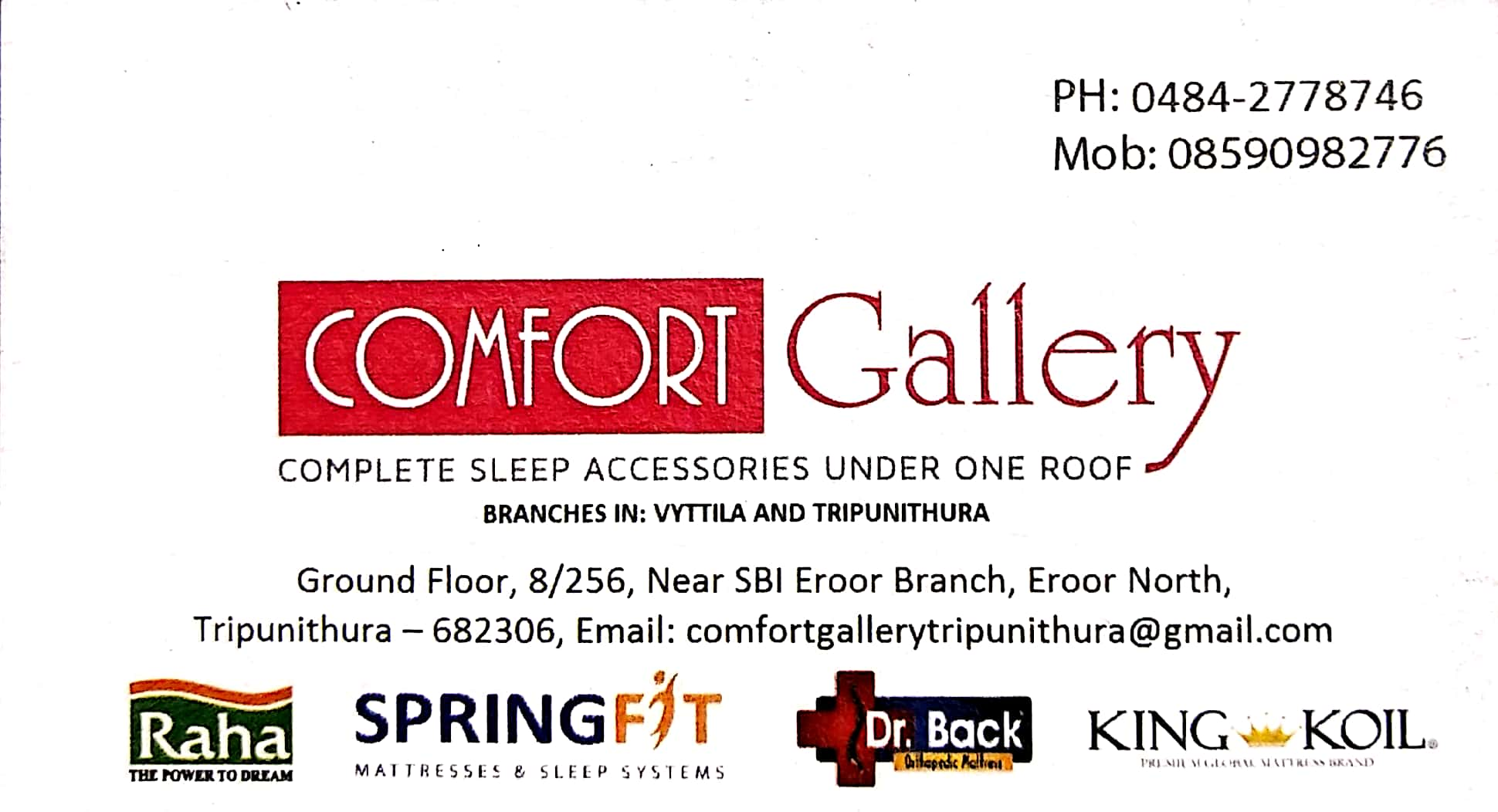 COMFORT GALLERY, MATTRESSES,  service in Thrippunithura, Ernakulam