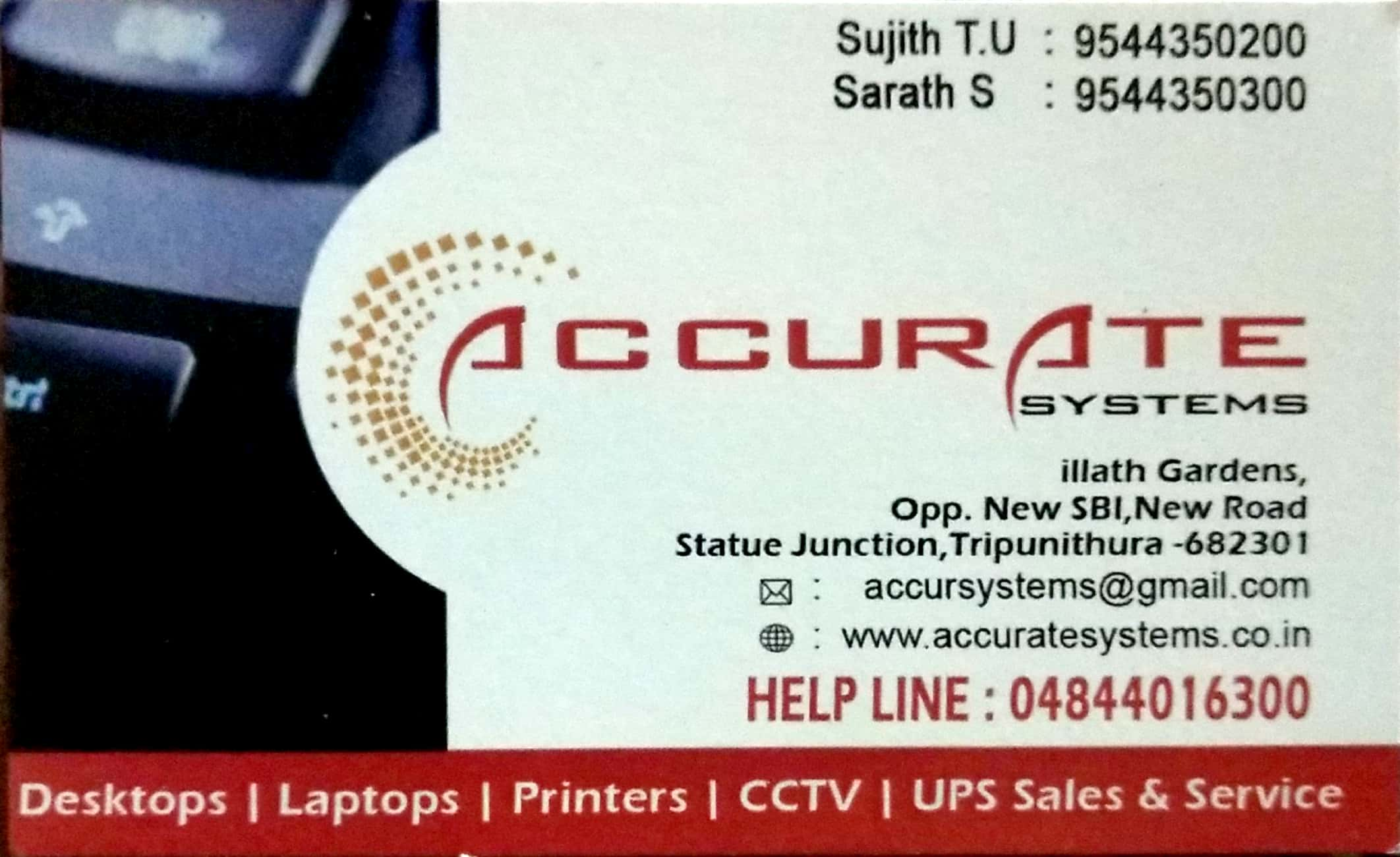 ACCURATE SYSTEMS, COMPUTER SALES & SERVICE,  service in Thrippunithura, Ernakulam