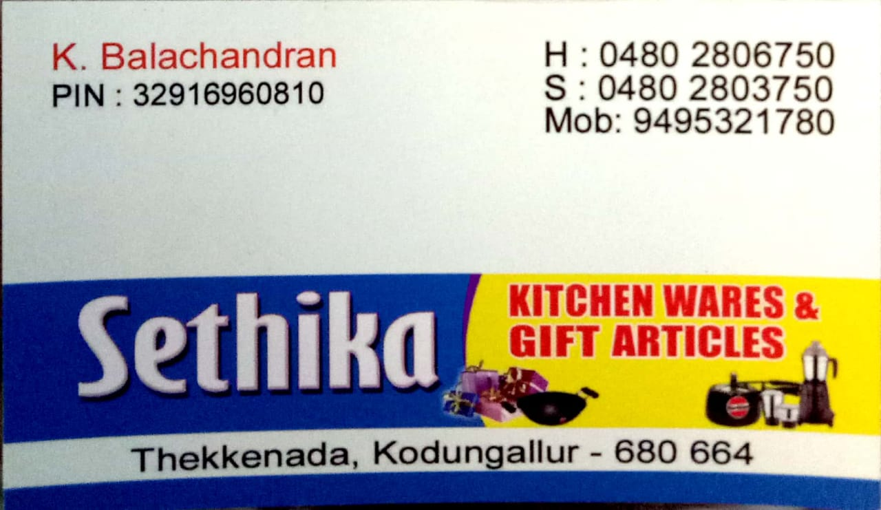 SETHIKA KITCHEN WARES & GIFT ARTICLES, KICHEN CABINET SHOP,  service in Kodungallur, Thrissur