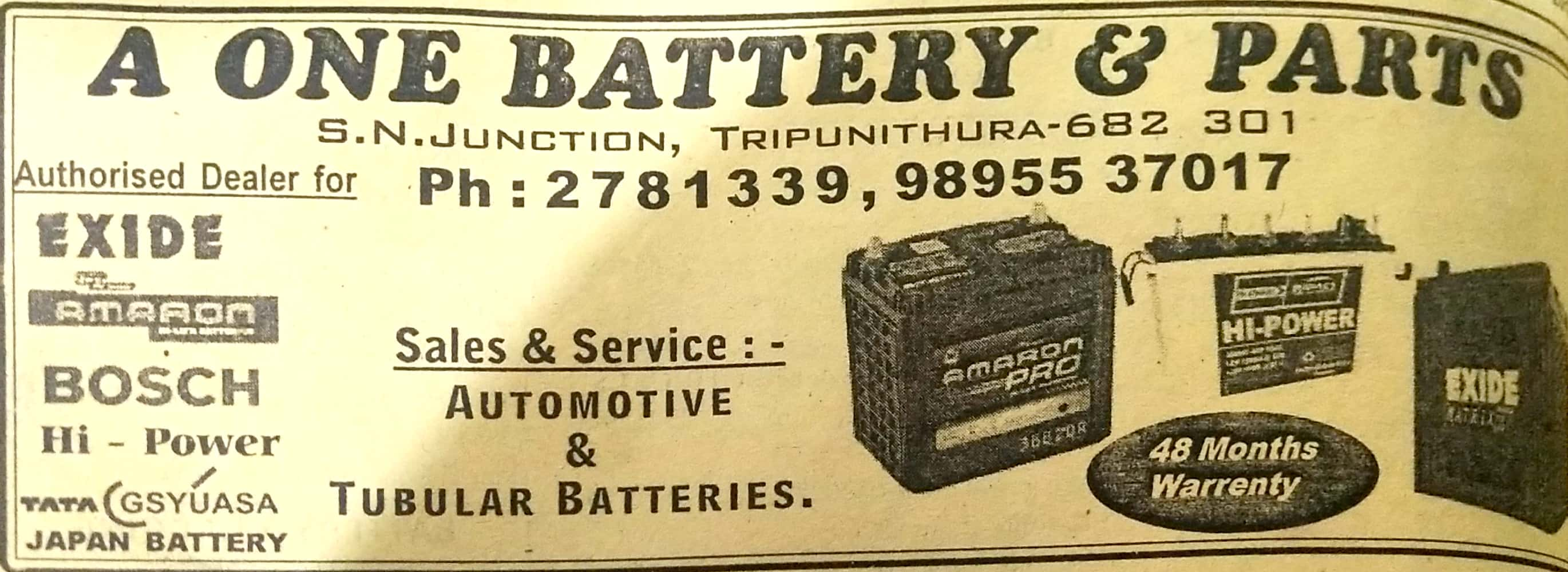 A ONE BATTERY & PARTS ERNAKULAM, BATTERY & UPS,  service in Thrippunithura, Ernakulam