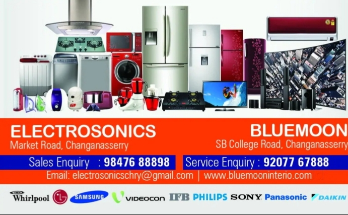 Bluemoon interio, ELECTRONICS,  service in Changanasserry, Kottayam