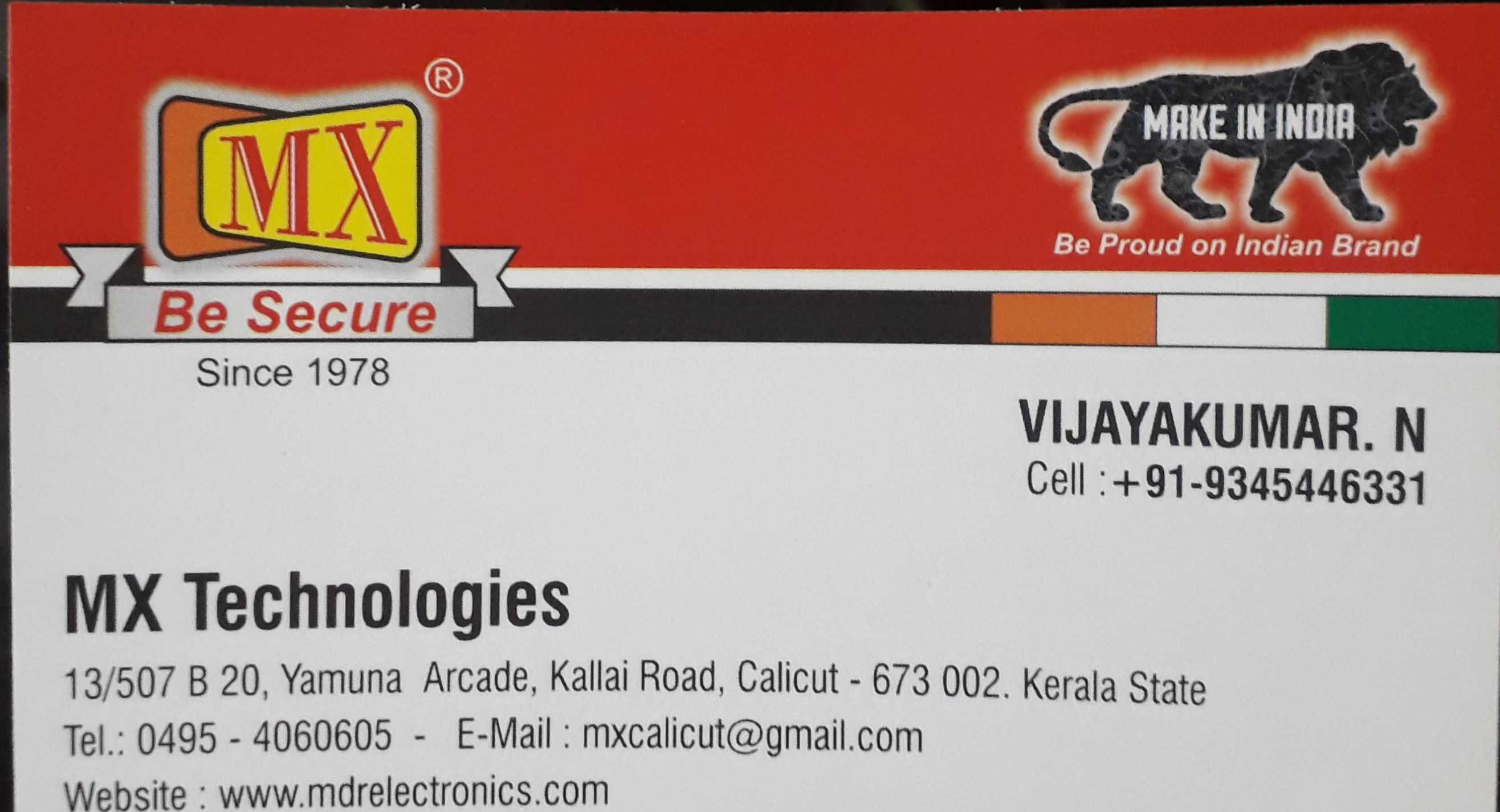 MX TECHNOLOGIES, SECURITY SYSTEMS,  service in Bank Road, Kozhikode