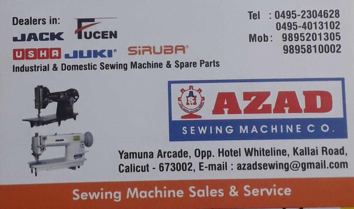 AZAD SEWING MACHINE CO., SEWING MACHINE & TAILORING MATERIALS,  service in Bank Road, Kozhikode