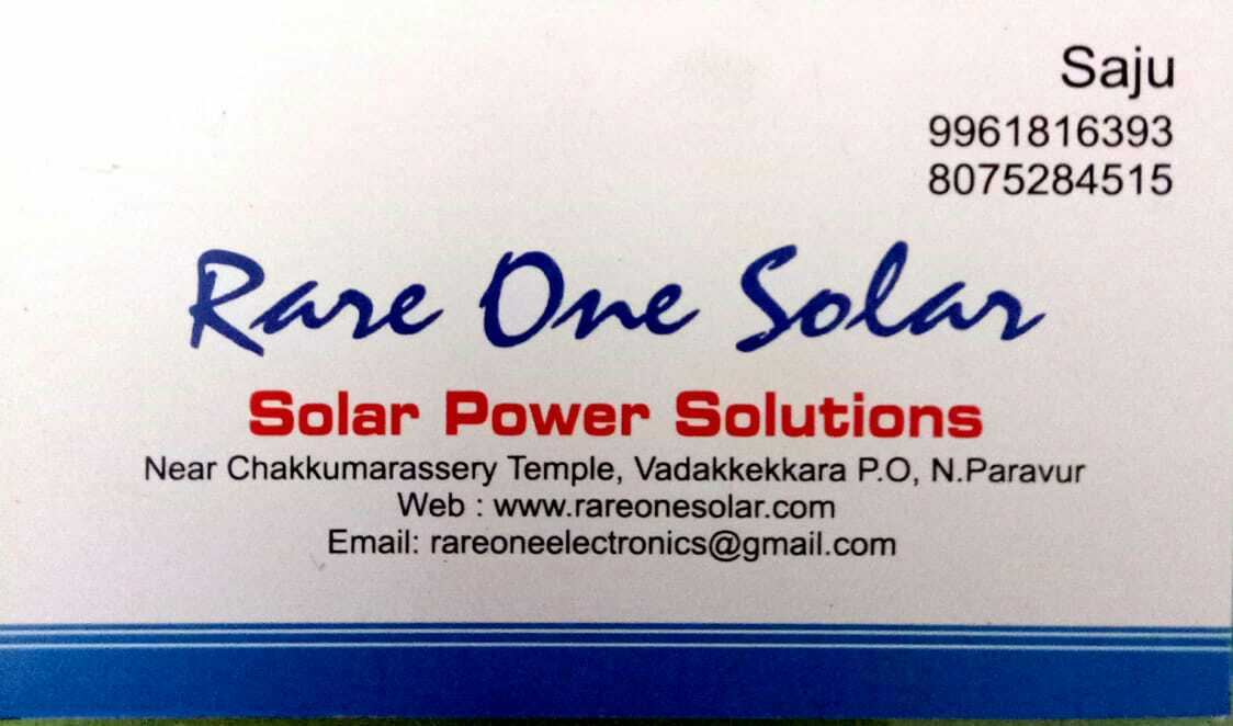 RARE ONE SIGNS solar power  solutions, SOLAR,  service in North Paravur, Ernakulam