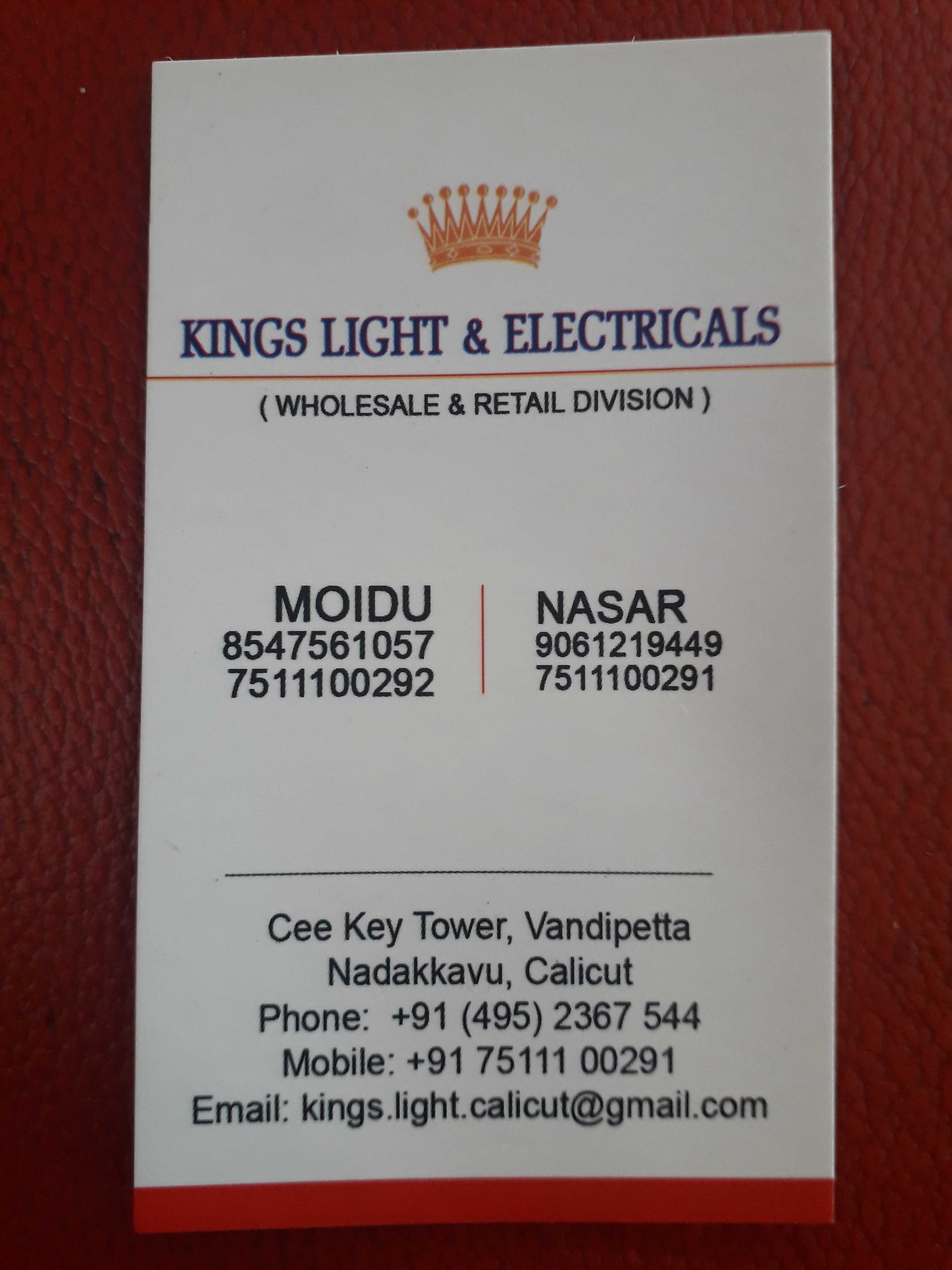 KINGS LIGHT & ELECTRICALS, LIGHT,  service in Nadakkavu, Kozhikode