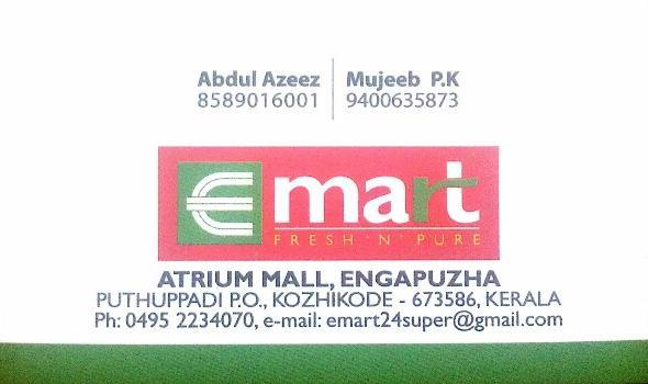 E MART, SUPER MARKET,  service in Engapuzha, Kozhikode