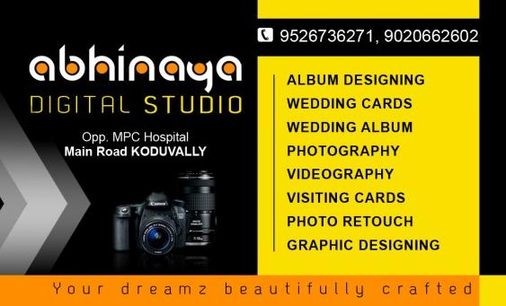 ABHINAYA DIGITAL STUDIO, STUDIO & VIDEO EDITING,  service in Koduvally, Kozhikode