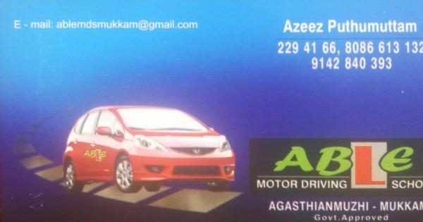 ABLE, DRIVING SCHOOL,  service in Mukkam, Kozhikode