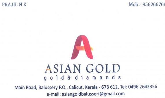 ASIAN GOLD, JEWELLERY,  service in Balussery, Kozhikode