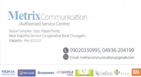 METRIX COMMUNICATION, MOBILE REPAIR & SERVICES,  service in Kalpetta, Wayanad