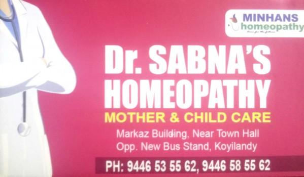 Dr SABNA S HOMEOPATHY, HOMEOPATHY HOSPITAL,  service in Koylandy, Kozhikode