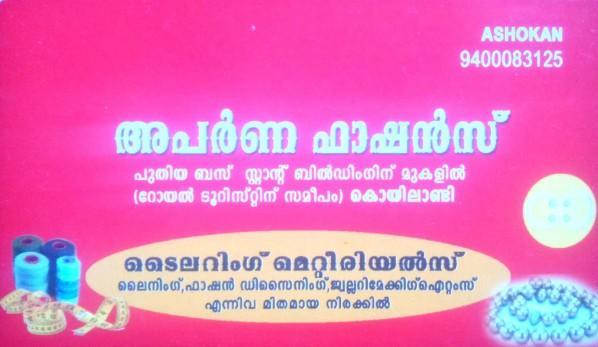 APARNA FASHIONS, FANCY & COSTUMES,  service in Koylandy, Kozhikode