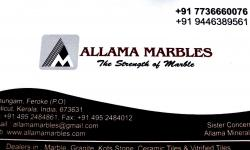 ALLAMA MARBLES, TILES AND MARBLES,  service in Farook, Kozhikode