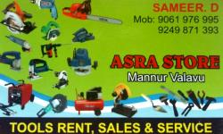 ASRA STORE, TOOLS,  service in Mannur, Kozhikode