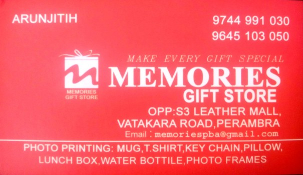 MEMORIES GIFT STORE, GIFT & TOYS,  service in perambra, Kozhikode