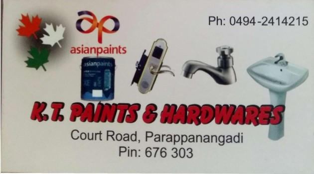 K T PAINTS AND HARDWARES, PAINT SHOP,  service in Parappanangadi, Malappuram