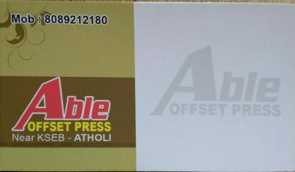 ABLE OFFSET PRESS, PRINTERS,  service in Atholi, Kozhikode