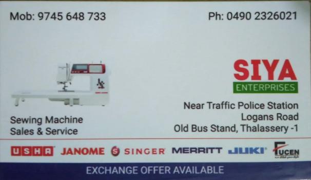 SIYA ENTERPRISES, SEWING MACHINE,  service in Thalassery, Kannur