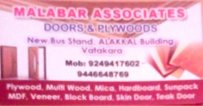MALABAR ASSOCIATES, GLASS & PLYWOOD,  service in Vadakara, Kozhikode