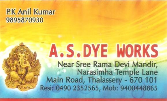 A S DYE WORKS, DYE WORKS,  service in Thalassery, Kannur