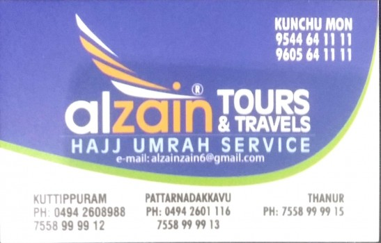 AL ZAIN TOURS AND TRAVELS, TOURS & TRAVELS,  service in kuttippuram, Malappuram