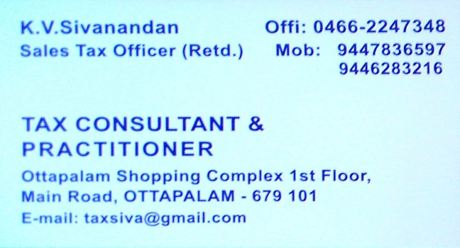 TAX CONSULTANT, TAX CONSULTANTS,  service in Ottappalam, Palakkad