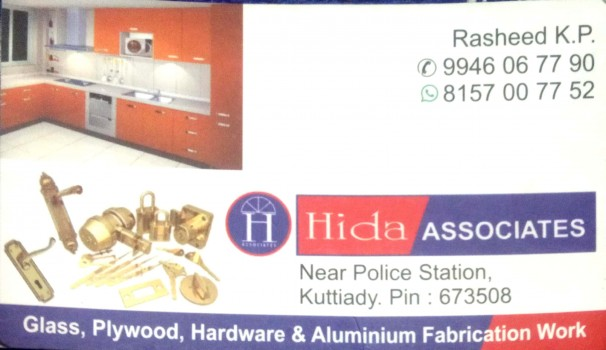 HIDA ASSOCIATES, GLASS & PLYWOOD,  service in Kuttiady, Kozhikode