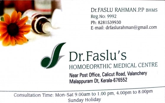 Dr FASLUS HOMEOPATHIC MEDICAL CENTRE, HOMEOPATHY HOSPITAL,  service in Valanchery, Malappuram