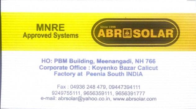 ABR SOLAR, SOLAR,  service in Meenagadi, Wayanad