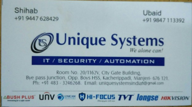 UNIQUE SYSTEMS CCTV, SECURITY SYSTEMS,  service in Manjeri, Malappuram