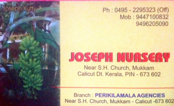 JOSEPH NURSERY, PLANT NURSERIES,  service in Mukkam, Kozhikode