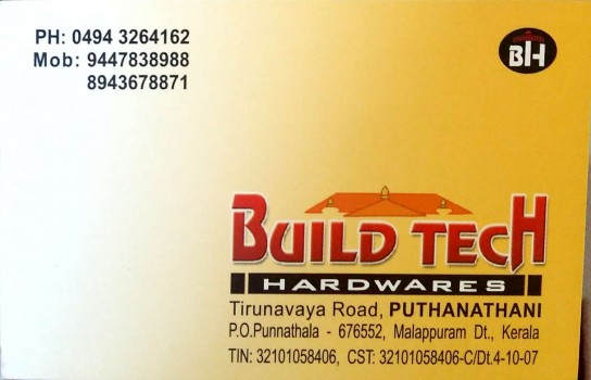 BUILD TECH HARDWARES, HARDWARE SHOP,  service in Puthanathani, Malappuram