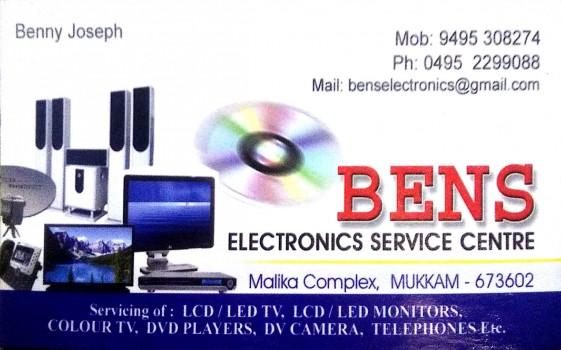 BENS ELECTRONICS, ELECTRONICS REPAIRING,  service in Mukkam, Kozhikode