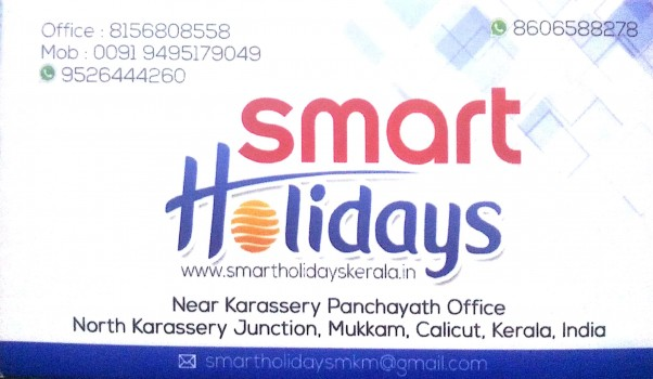 SMART HOLIDAYS, TOURIST SERVICE VEHICLE,  service in Mukkam, Kozhikode