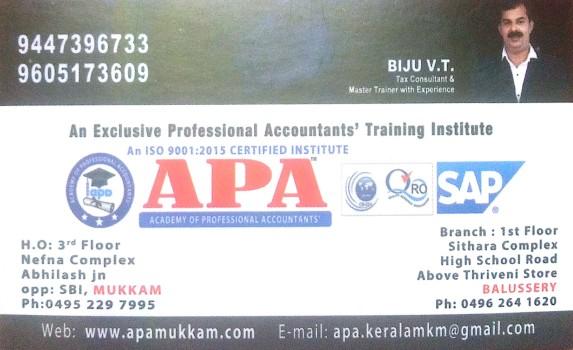 APA, PROFFESSIONAL STUDIES,  service in Mukkam, Kozhikode
