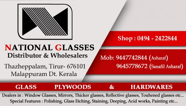 NATIONAL GLASSES, GLASS & PLYWOOD,  service in Tirur, Malappuram