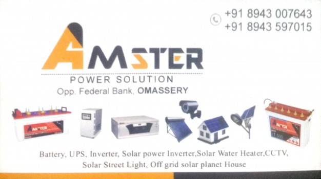 AMSTER Power Solution, SOLAR,  service in Omassery, Kozhikode