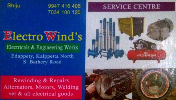 ELECTRO WINDS, ELECTRICAL REPAIRING,  service in Mukkam, Kozhikode