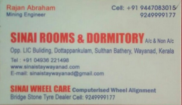SINAI, RESIDENCY,  service in Sulthan Bathery, Wayanad