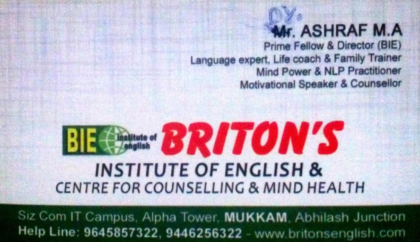 BRITONS Institute Of English, SPOKEN ENGLISH/IELTS,  service in Mukkam, Kozhikode