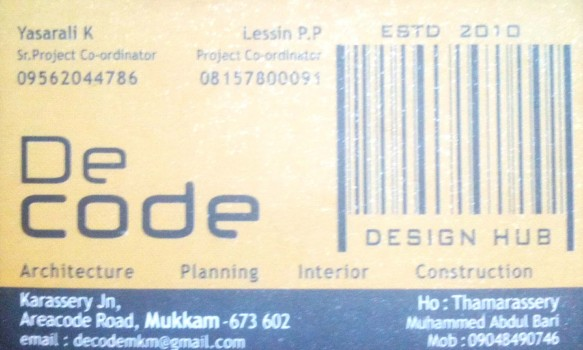 DECODE, INTERIOR & ARCHITECTURE,  service in Mukkam, Kozhikode