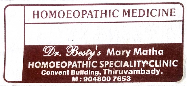 Dr Besty s MARY MATHA, HOMEOPATHY HOSPITAL,  service in Thiruvambadi, Kozhikode