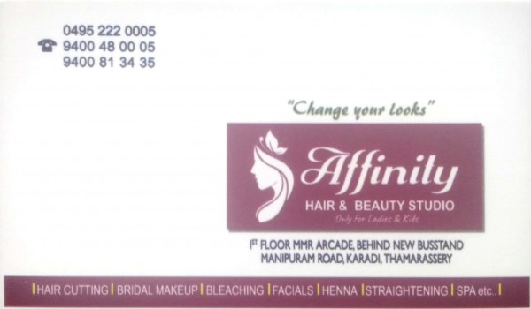 AFFINITY Hair and Beauty Studio, BEAUTY PARLOUR,  service in Thamarassery, Kozhikode